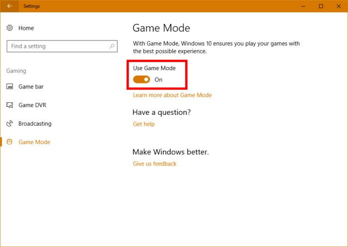 Creators Update Game Mode