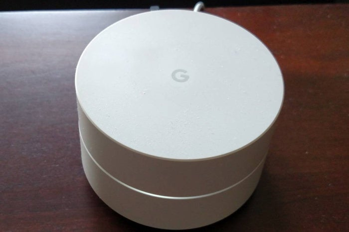Google Wifi router on table