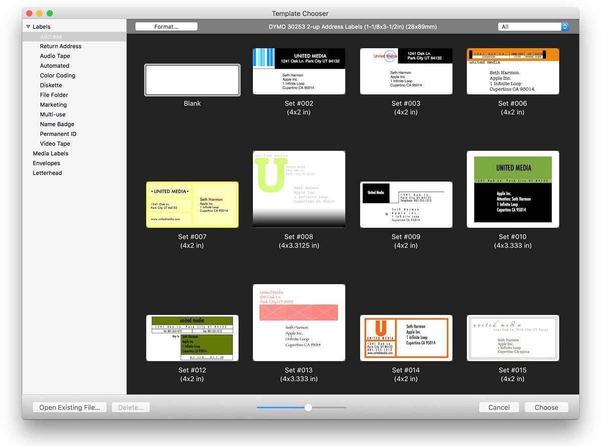 labelist 10 template chooser