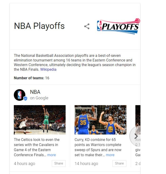 playoffs on google