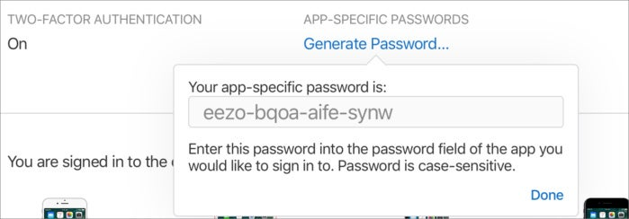 privatei apple app specific password