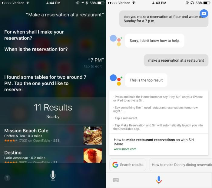 siri google assistant reservations