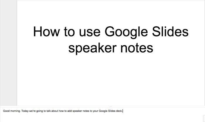 slides speaker notes