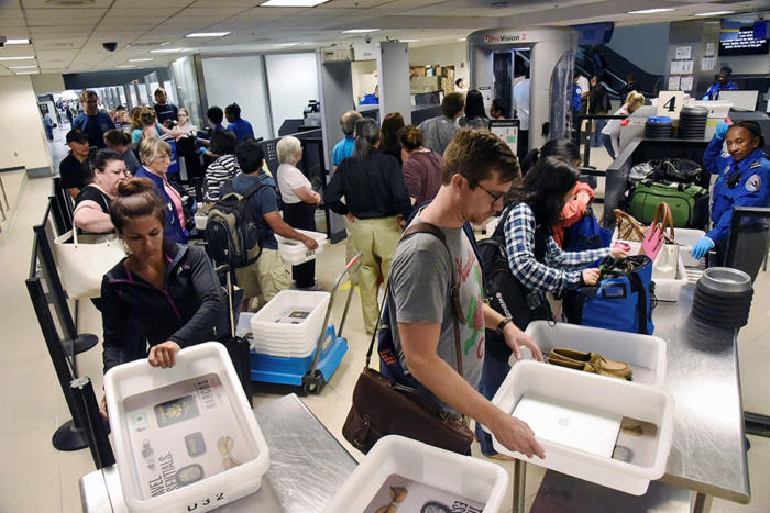 tsa airport screening checkpoint passengers lax