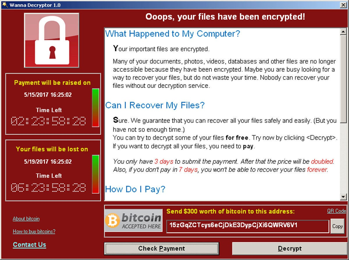 wannacry ransom screenshot