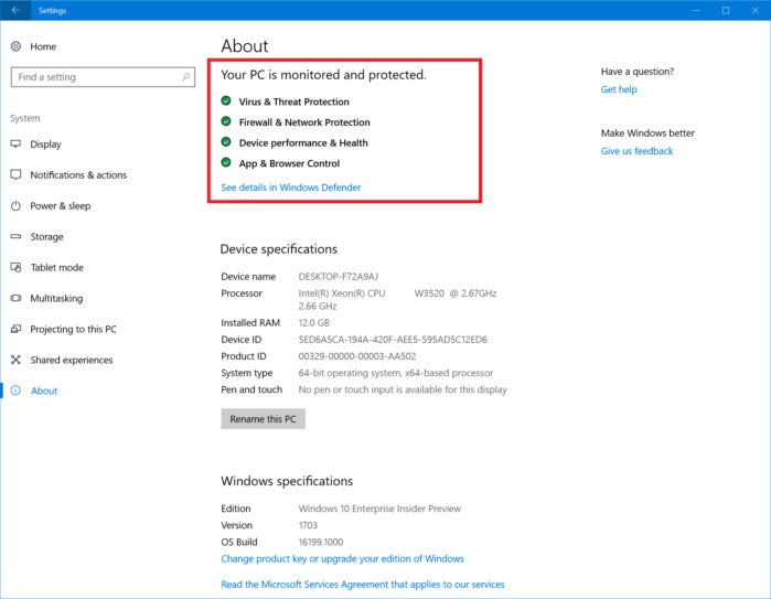 windows 10 settings system health