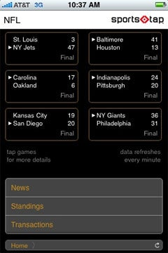 screene shot   of SportsTap on the Apple iPhone