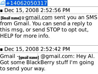 SMS Text Gmail Chat on BlackBerry screen