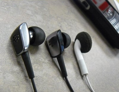 image of BlackBerry Premium Multimedia Headset, Premium Stereo Headset and Apple iPhone Earbud