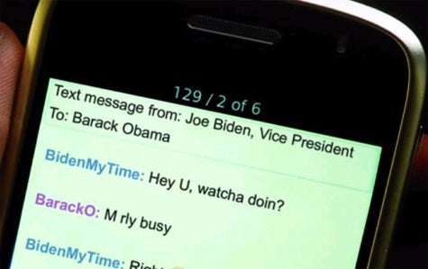 Text Conversation between Barack Obama and Joe Biden (joke