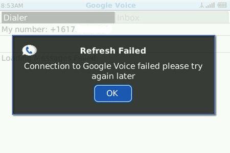 image of Google Voice for BlackBerry Refresh Error Message