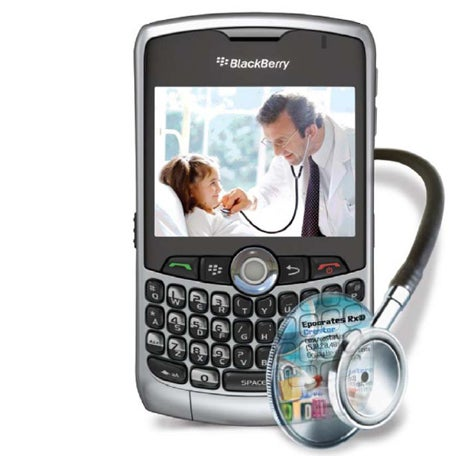 image of   BlackBerrty Curve 8330 with Stethoscope