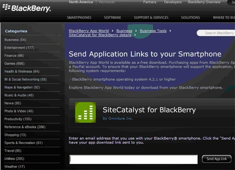 image of RIM's BlackBerry App World in Desktop Browser