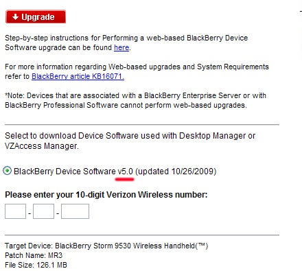 BlackBerry Storm 9530 OS 5.0 Update on Verizon Website