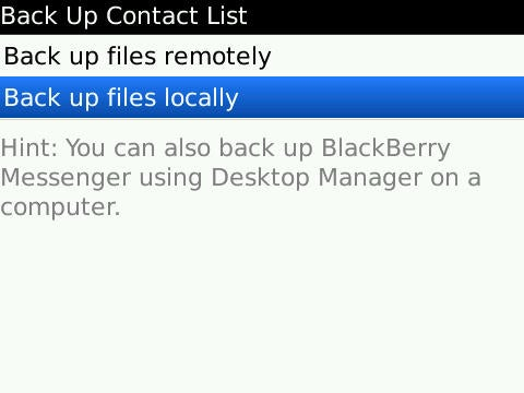 BBM   Backup Options Screen