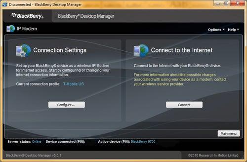 BlackBerry Desktop Manager IP Modem Screen