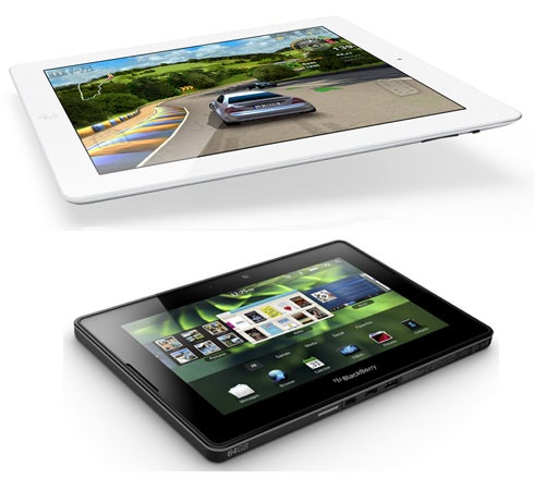 Apple's iPad 2 Atop the BlackBerry PlayBook Tablet from RIM