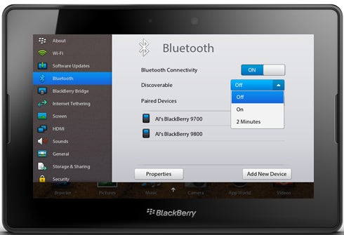 BlackBerry PlayBook Tablet Bluetooth Options