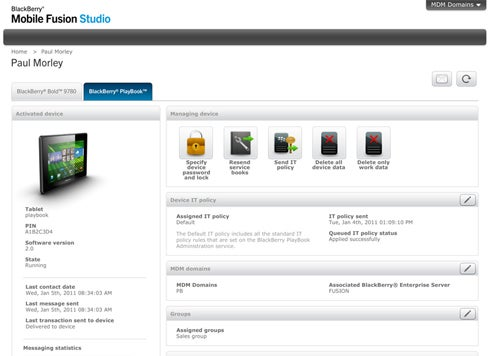BlackBerry Mobile Fusion Studio Web Console