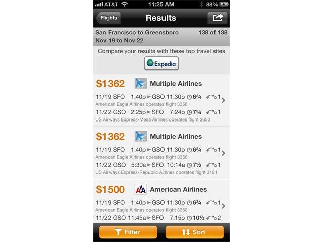 Kayak screen shot iPhone
