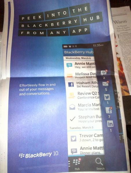 RIM BlackBerry 10 New York Times NYT ad