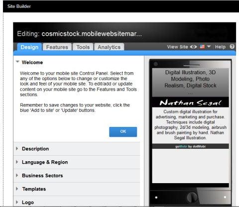 Sitebuilder   Interface in GoMobi