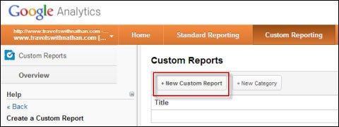 Google Analytics Create New Custom Report