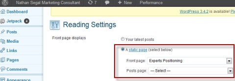 WordPress Static Page
