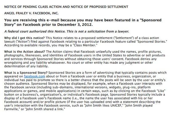 Facebook's Sponsored Stories lawsuit
