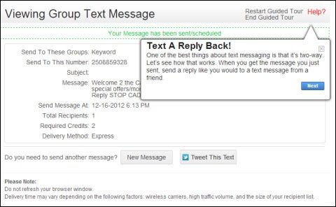 Using EZTexting.com: Step 4