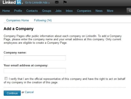 LinkedIn Add a Company Page Fields