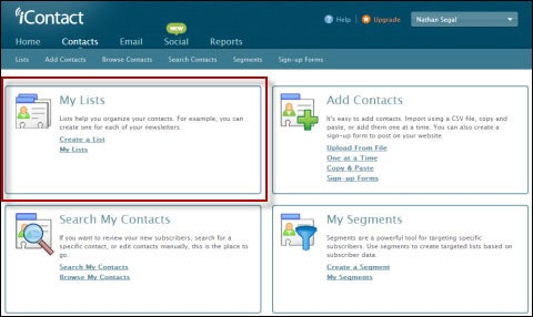 iContact Contacts Page