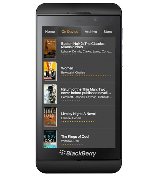 BlackBerry Z10 with Amazon Kindle app
