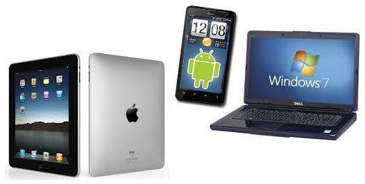 Microsoft Windows 7 laptop, Apple iPad, Google Android smartphone