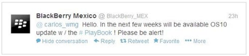 BlackBerry PlayBook BlackBerry 10 tweet