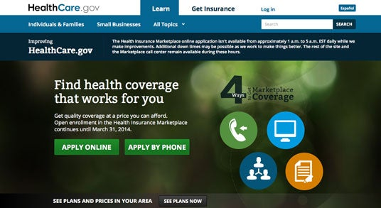 Healthcare.gov Home Page