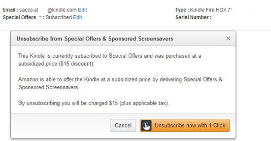 Amazon Kindle Fire HDX 7 special offers unsubscribe
