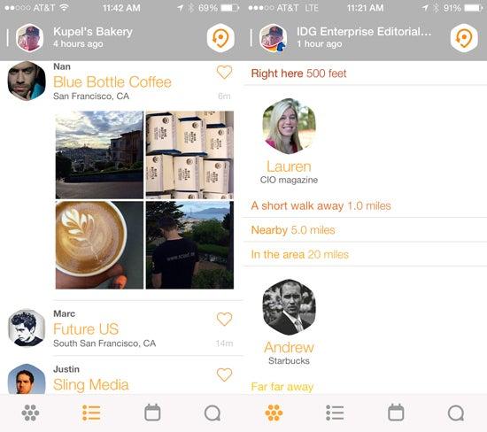 Foursquare Swarm check-in screens