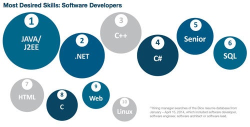 Most searched for developer skills