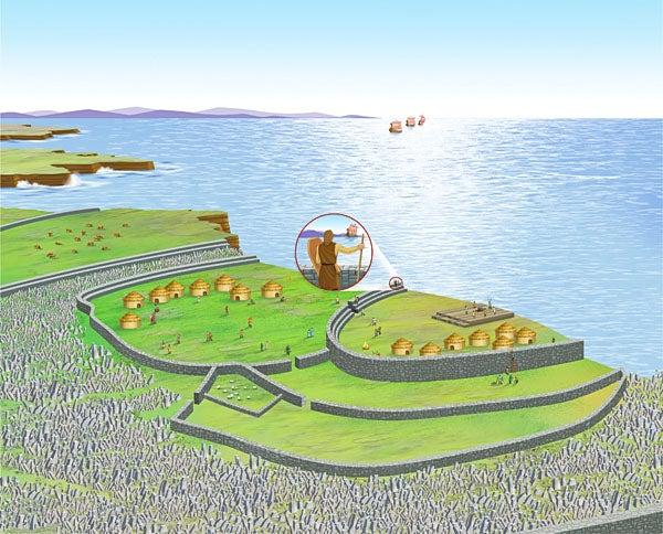 Irish fort Dun Aengus illustrated defense-in-depth concepts