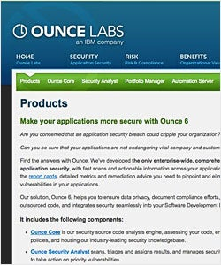 Source code analysis vendors include Ounce Labs/IBM, Veracode, Fortify, Coverity