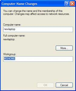 Changing the name of your workgroup in Windows XP