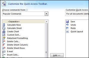 Adding buttons to the Quick Access toolbar