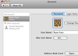 Accounts system preferences