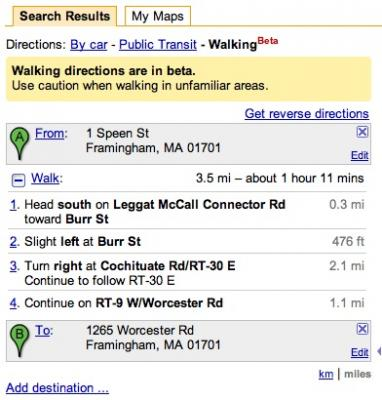 Google Maps now offers walking directions.