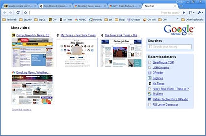 A screen shot of the new Google browser for Windows