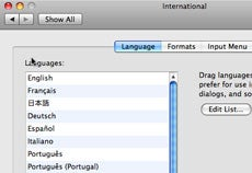 Selecting language preferences in the International pane
