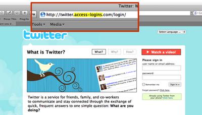 Twitter fake log on page