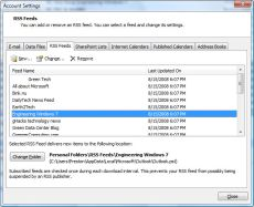 Microsoft Outlook RSS feeds