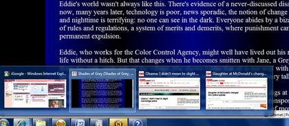 Jump List showing open Internet Explorer windows